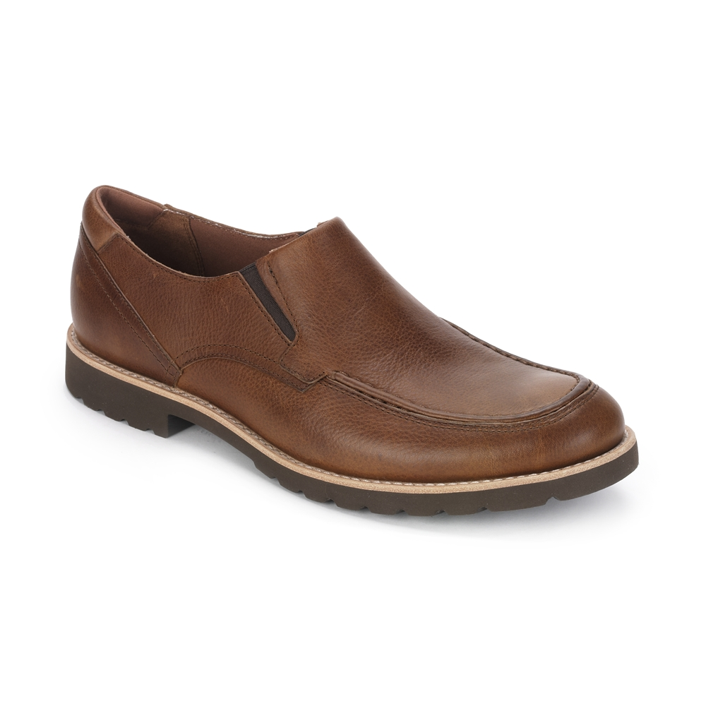 6.-ROCKPORT Caballero-LEDGE HILL SLIP ON-CARAMEL TUMBLED