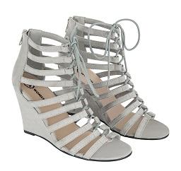 femenina zapato tiras gris