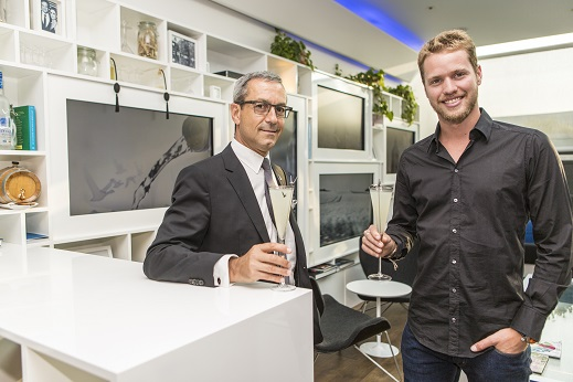 Sam Branson and Francois Thibault raise a GG Le Fizz to celebrate the new pioneering partnership and a shared belief to fly beyond behind the scenes at GREY GOOSE Virgin Galactic Partnership launch film